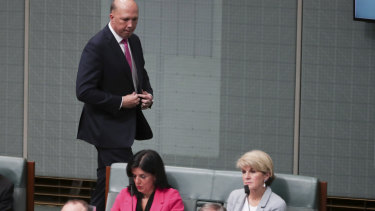 Home Affairs Minister Peter Dutton could be referred to the High Court by former Liberal MP Julia Banks, pictured sitting with Julie Bishop.