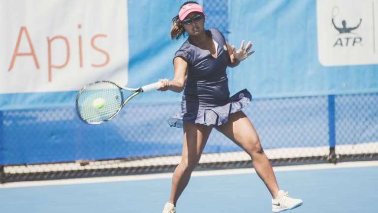 Canberra International No. 1 seed Irina Ramialison in action on Monday.