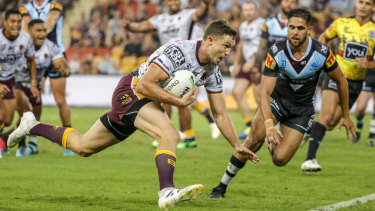 Best showing of season: Corey Oates crosses during the Brisbane rampage.