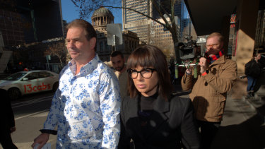 CFMMEU construction secretary John Setka at Melbourne Magistrates Court with his wife Emma Walters.
