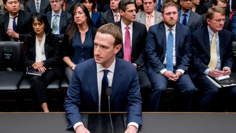 Facebook CEO Mark Zuckerberg preparing to testify before US Congress earlier this month.