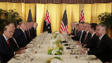 US President Donald Trump dines with Prime Minister Scott Morrison.