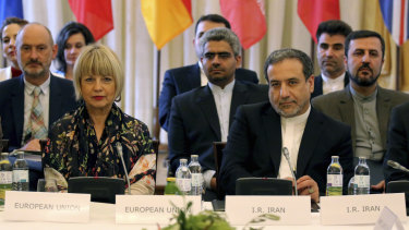 The European Union's political director Helga Schmid and Iran's deputy Foreign Minister Abbas Araghchi during a bilateral meeting that formed part of closed-door nuclear talks in Vienna, Austria, on Sunday.