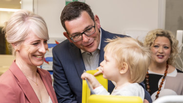 Daniel Andrews, wife Cath and Health Minister Jill Hennessy