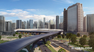An artist's impression of what a hyperloop station could look like.