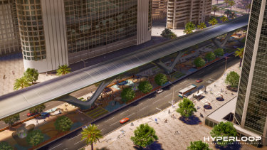 An artist's impression of what a hyperloop system could look like.