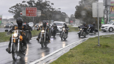 Bandidos bikies, pictured here leaving a service station on the Calder Freeway on Friday, are having their national run.