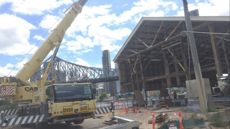 The River Shed takes shape at the new Howard Smith Wharves redevelopment.