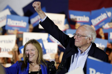 """""""We're going to win this election,"""" said Bernie Sanders, in San Antonio, Texas, after the Nevada caucus."""