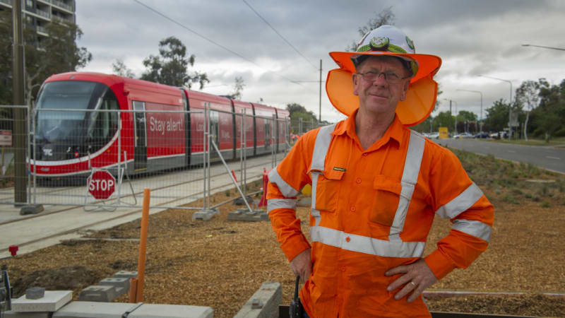 The first light rail vehicle has arrived on Northbourne Avenue