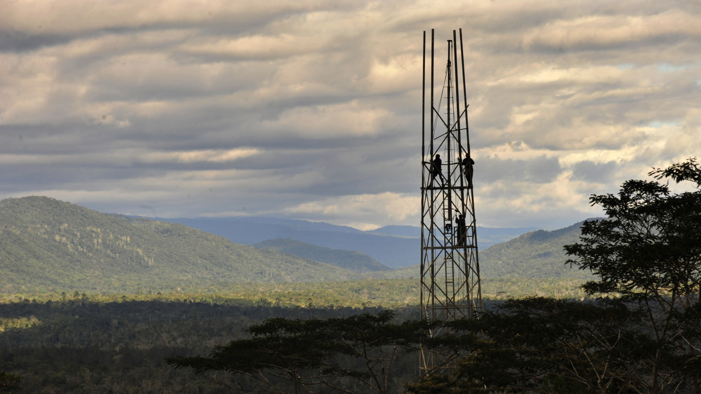 Digicel mobile towers in Papua New Guinea.