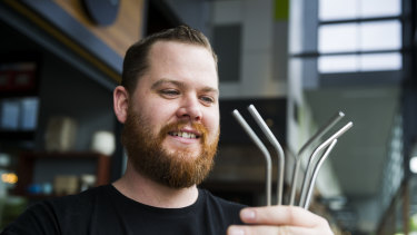 Steel straws are becoming more popular at cafes across Queensland.