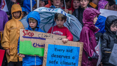 Canberra students protesting outside Parliament House on Wednesday asking for climate change action.