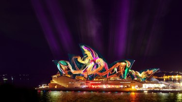 A digital render of how Austral Flora Ballet will appear on the Sydney Opera House.