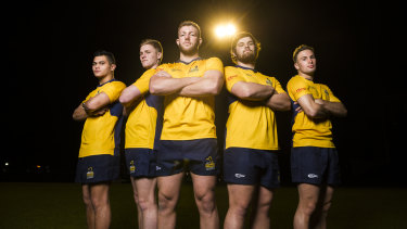 ACT Brumbies academy players, from left, Noah Lolesio, Seamus Smith, Angus Allen, Angus Wagner and William Goddard.