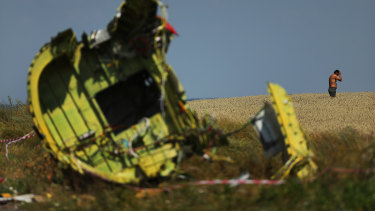 August 2014: Part of the fuselage of flight MH17 outside the village of Grabovka in Ukraine.