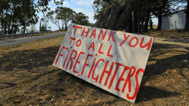 A sign thanking firefighters outside Churchill.