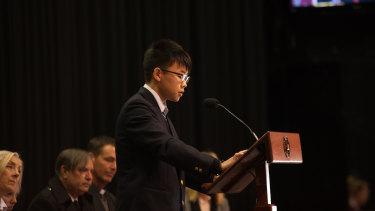 Takuya Tokairin, a survivor of the 2011 Tohoku earthquake, speaks to students in Canberra.