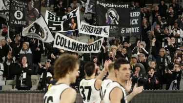 It's been a tough season for the black and white faithful, but they were treated to a win over the reigning premiers at the MCG.