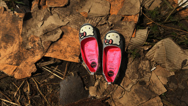 A pair of shoes from passengers' luggage lay among the wreckage of the cockpit from Malaysian flight MH17 in 2014.