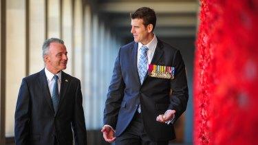 Australian War Memorial director Brendan Nelson and Victoria Cross recipient Ben Roberts-Smith.