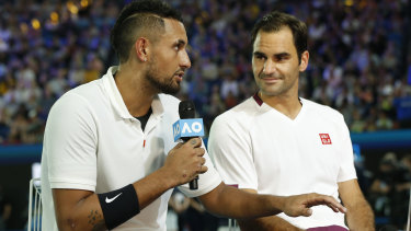 Nick Kyrgios and Roger Federer speak after the Rally for Relief.