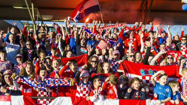 Hundreds of Croatian fans gather at Deakin Stadium ahead of their side's World Cup final clash with France.