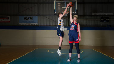 Former Canberra Capitals player Tracey Peacock stands at 202cm tall, and she is already matched by her 14-year-old son Bowyn Beatty.