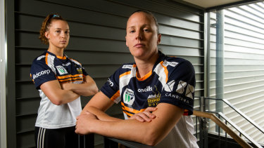 Brumbies flanker Georgia O'Neill with captain Shellie Milward.