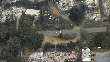 An aerial view of Marysville after the fires.