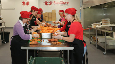 Volunteers preparing food in the FareShare kitchen in Morningside.
