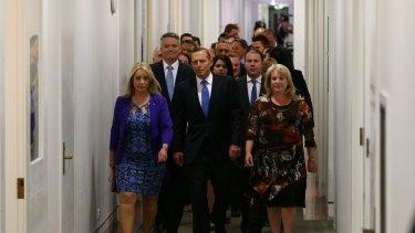 Prime Minister Tony Abbott arrives for the leadership ballot, September 2015.