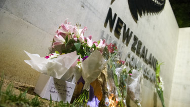 Flowers left at the New Zealand High Commission in Canberra after the terrorist attack in Christchurch on Friday.