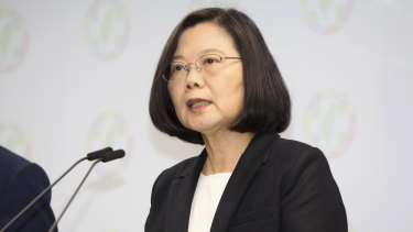 Taiwanese President Tsai Ing-wen, speaks after election results in Taipei, Taiwan on Saturday.