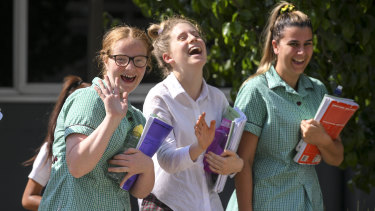 There was laughter and relief after the VCE maths exam.