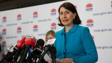 NSW Premier Gladys Berejiklian addresses the media on Thursday.