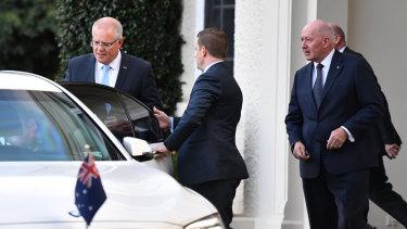 Prime Minister Scott Morrison leaves Government House on Thursday morning.