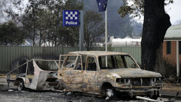 A burnt out car in Kinglake.