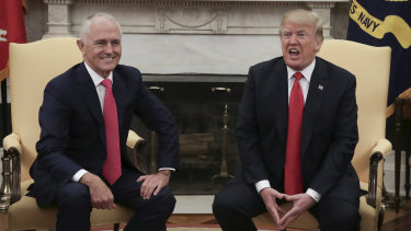 Prime Minister Malcolm Turnbull meets with United States of America President Donald Trump in the Oval Office in 2018.