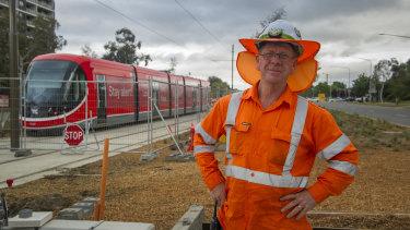Canberra Metro protection officer Graham Doneley preparing for light rail testing in November.