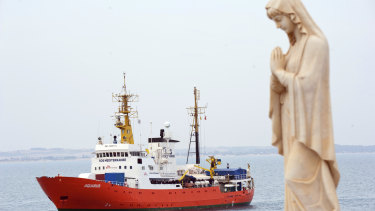 The rescue vessel Aquarius approaches the Pozzallo harbour, southern Italy.