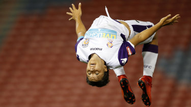 Sam Kerr does a backflip after scoring a hat-trick for Perth Glory.