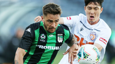 Josh Risdon (left) is away on Socceroos duty but Western United haven't ruled him out for their game this weekend.