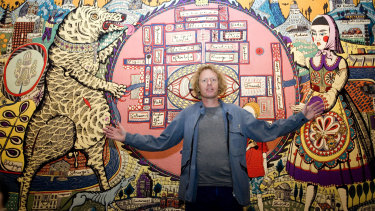 "Grayson Perry's artwork ""Map of truths and beliefs"" was drawn on by a child with a pencil."