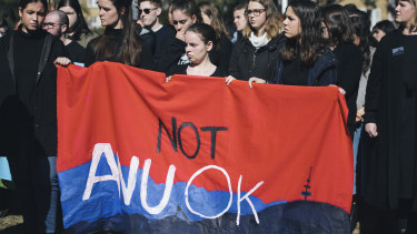 A protest held at the ANU in response to the report into sexual harassment and assault at universities.