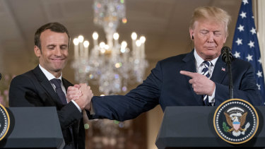 French President Emmanuel Macron is attempting to get President Donald Trump to stay in the Iran nuclear accord.