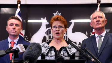 That was her mistake ... One Nation leader Pauline Hanson chose to stand alongside James Ashby, left, and Steve Dickson on Thursday.