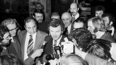 Bob Hawke arrives for a Press Conference with Milton A. (Mickey) Rudin [L], Frank Sinatra's lawyer for more than 30 years.