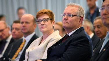 Prime Minister Scott Morrison on Thursday, with Foreign Minister Marise Payne.