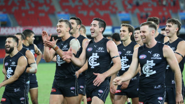 Sunny skies ahead: Carlton after a win on the Gold Coast.